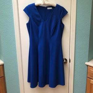 Blue Calvin Klein cocktail dress